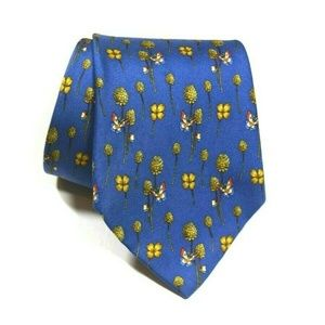Salvatore Ferragamo Blue Butterfly Gold Floral Tie